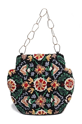 Black Embroidered Potli Bag by The Leather Garden