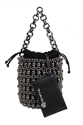 Gunmetal Embroidered Polti Bag by The Leather Garden