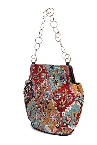 Multi Colored Embroidered Potli by The Leather Garden
