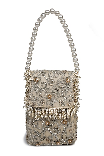 Off White Beads Embroidered Potli Bag by The Leather Garden