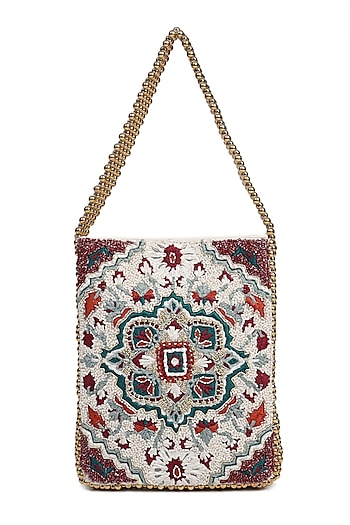 Multi Colored Dabka Embroidered Handbag by The Leather Garden