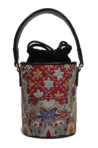 Multi Colored Hand Embroidered Handbag by The Leather Garden