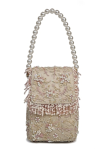 Off White Embroidered Handbag by The Leather Garden