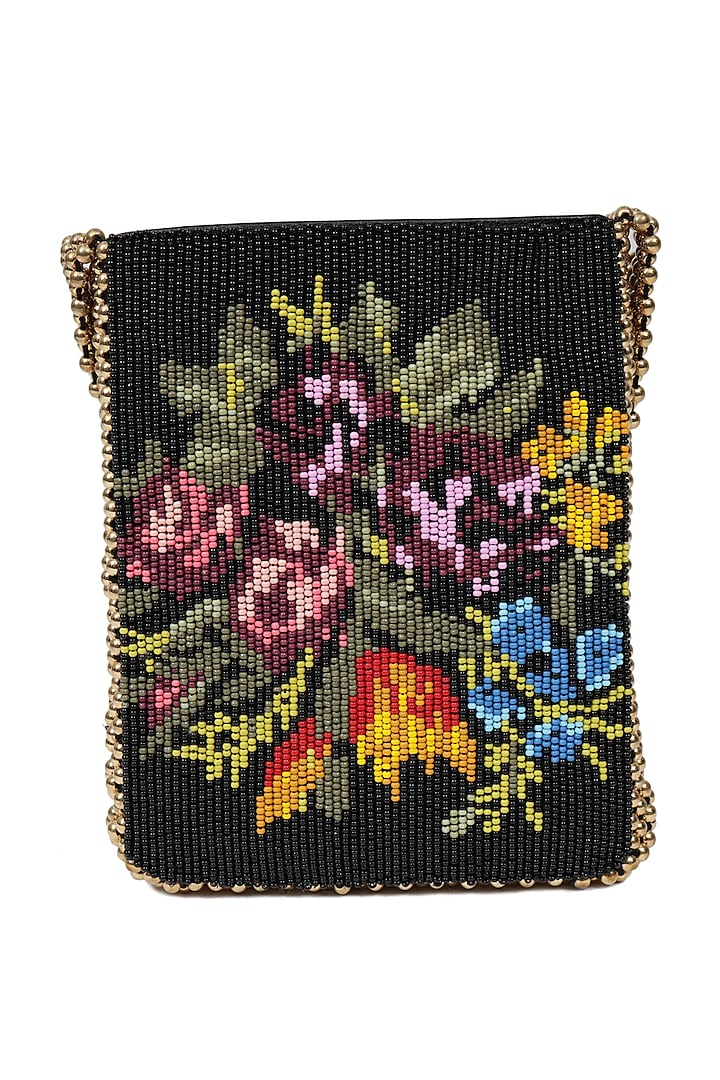 Multi Colored Beads Embroidered Handbag by The Leather Garden