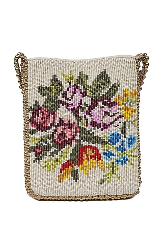Multi Colored Beads Embroidered Leather Handbag by The Leather Garden