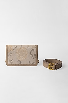 Off White Belt Bag With Floral Detailing by The Leather Garden