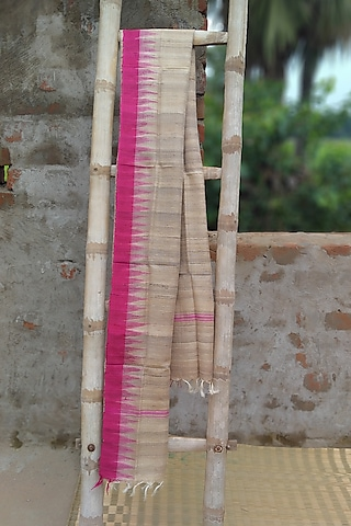 Beige & Pink Dupatta With Temple Border by Itsree
