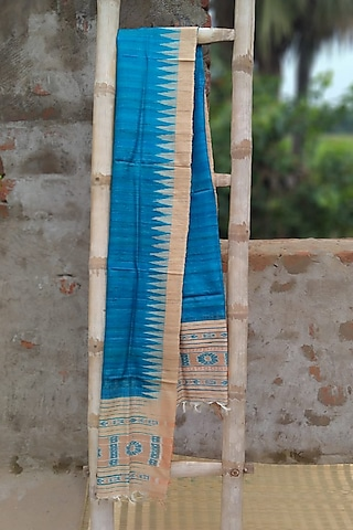 Sky Blue Dupatta With Temple Border by Itsree
