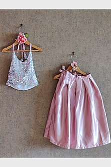 Blue Embroidered Top With Pink Skirt by Little Secrets