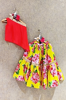 Red Top With Yellow Printed Skirt by Little Secrets