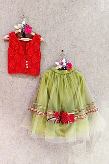 Red Top With Green Embroidered Skirt by Little Secrets