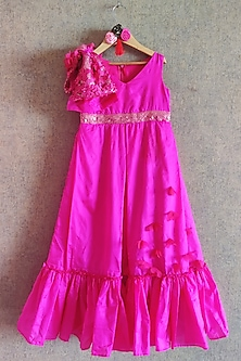 Hot Pink Embroidered Gown by Little Secrets