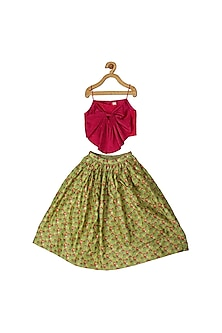 Fuchsia Pink & Green Skirt Set by Little Luxury