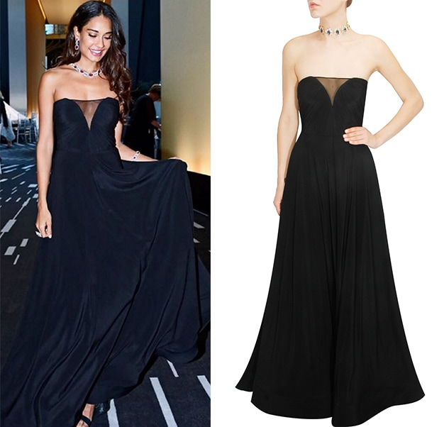 Black bustier pleated drape Gown by Deepankshi And Reena