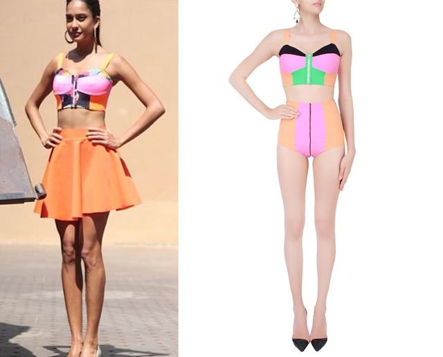 Black and Terracota Color Blocked Bikini Set by Shivan & Narresh