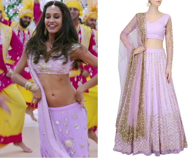 Lavender Sequins Flower Embroidered Lehenga Set by Astha Narang