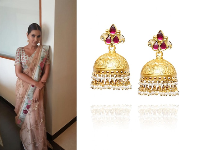 Gold finish glass stone jhumki earrings by Amrapali