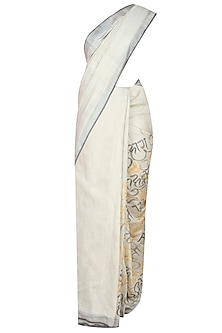 Natural Colour Nirala's Poetry Hand Painted Bhagalpur Saree by Likhawat