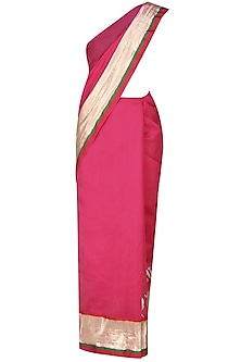 Hot Pink Age Old Radha Krishna Love Songs Hand Painted Saree by Likhawat