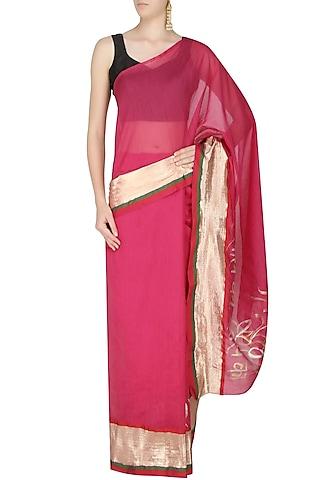 Hot Pink Age Old Radha Krishna Love Songs Hand Painted Saree by Likhawat
