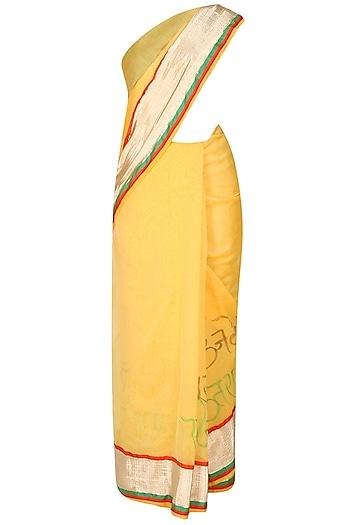 Sun Yellow Shri Krishna's Illustration Hand Painted Saree by Likhawat