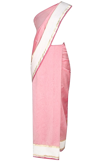 Onion Pink Shri Harivansh Rai Bachchan's Poetry Hand Painted Saree by Likhawat