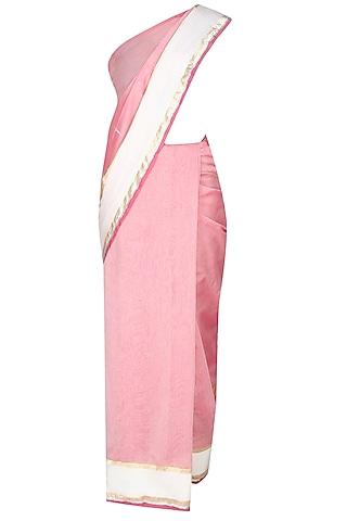 Onion Pink Shri Harivansh Rai Bachchan's Poetry Hand Painted Saree by Likhawat