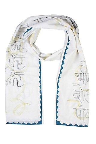 Off White Ghalib's Poetry Hand Painted Dupatta by Likhawat