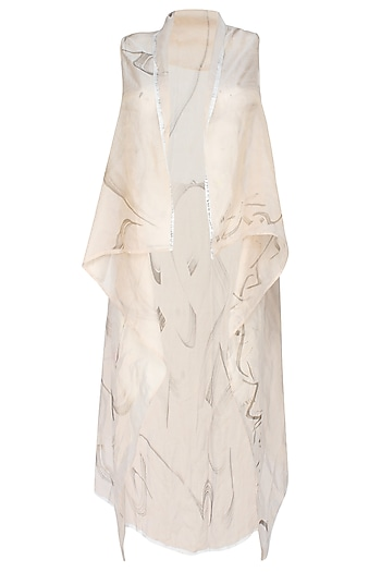 Dull Gold Abstract Calligraphy Hand Painted Cape by Likhawat