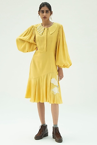 Yellow Iris Hand Embroidered Dress by Label Meesa