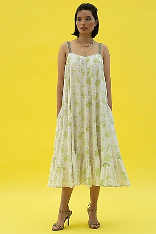 White Hand Embroidered Maxi Dress by Label Meesa