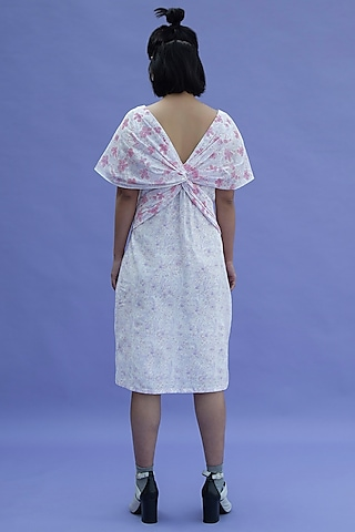White Printed Dress by Label Meesa