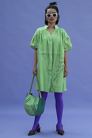 Lettuce Green Hand Embroidered Dress by Label Meesa