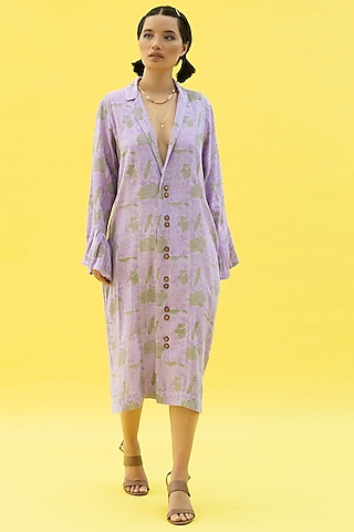 Cherry Blossom Purple Printed Summer Dress by Label Meesa