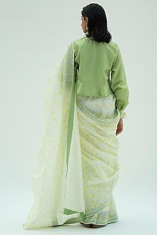 Sun White Hand Printed Saree by Label Meesa