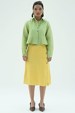Yellow A-Line Skirt With Buttons by Label Meesa