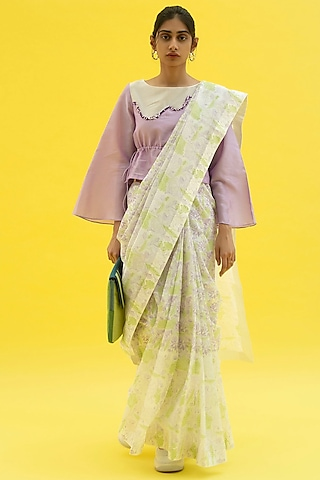 Sun White Printed Saree by Label Meesa