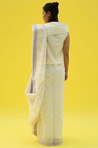 Sun White Block Printed Saree by Label Meesa