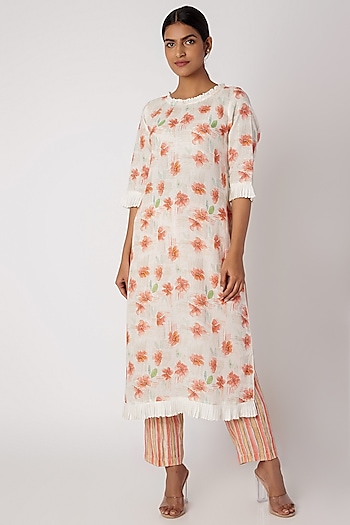 White Printed Linen Tunic by Linen and Linens