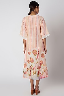 Peach Printed & Striped Dress by Linen and Linens