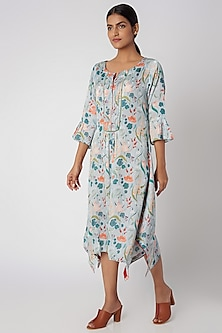 Sky Blue Digital Printed Dress by Linen and Linens