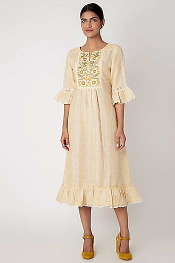 Yellow Dress With Embroidered Yoke by Linen and Linens