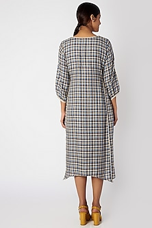 Grey Printed Checkered Dress by Linen and Linens