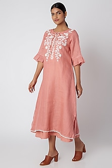 Blush Pink Embroidered Layered Dress by Linen and Linens