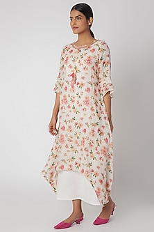 White Embroidered Layered Dress With Slip by Linen and Linens