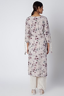 Grey Floral Printed Dress by Linen and Linens