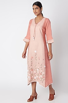 Peach Embroidered Linen Dress by Linen and Linens