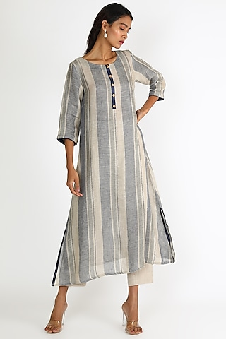 Navy Blue Striped Tunic by Linen And Linens