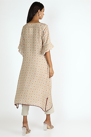 Beige Floral Printed Tunic by Linen And Linens