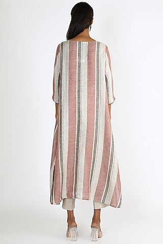 Rust Striped Tunic by Linen And Linens